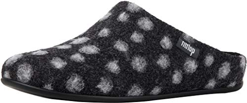 FitFlop Womens Chrissie Dots Wool Slipper Shoes, Charcoal, US 7