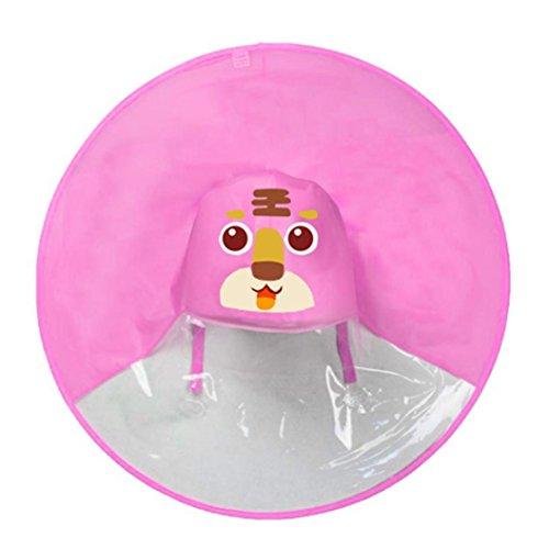 Covermason Mignon Manteau de Pluie Unisexe Enfants Parapluie Chapeau Enfant Petit Animaux Mignons imperméable Coupe-Vent Anti-Pluie Raincoat Adorable Léger Pliable (Rose-Tigre, S)