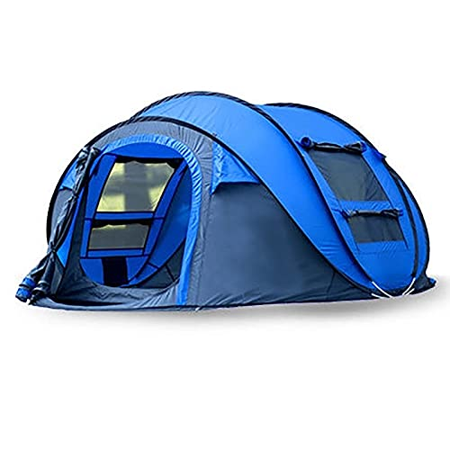 WGFGXQ Outdoor Pop-Up Campingzelt 5-6 Personen, wasserdichtes Familienzelt, 4 belüftete Mesh-Fenster, Familien-Sofort-Reisezelt, 280 * 200 * 120cm