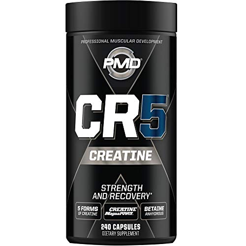 PMD Sports CR5 Professional Creatine Complex - Fast Recovery, Reduce Soreness, Lean Muscle Mass Gainer - Better Than Creatine Monohydrate Powder - Perfect for Your Home Gym Workouts (240 Capsules)