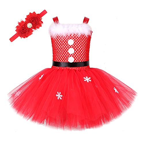 Baby Girl Christmas Dress For Kids Santa Claus Costumes For Girls New Year Dresses With Flower Headband Children Xmas Clothes (Color : Dress with Hairband, Size : 6Y)