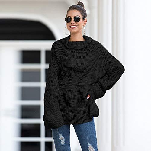 Avsvcb Otoño e Invierno suéter de Cuello Alto Mujer Moda de Comercio Exterior Europeo y Americano Suelto suéter de Punto Dividido de Gran tamaño