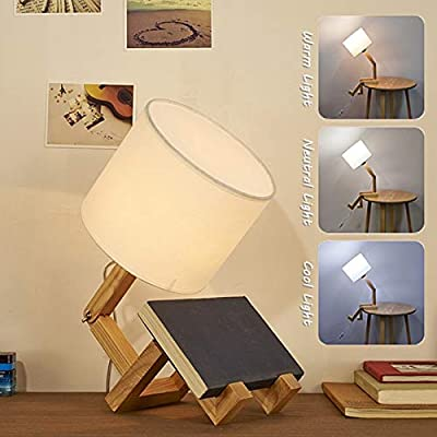 IYUNXI Table Lamp Wooden Creative Humanoid Nightstand Lamp Man Lamp Rotatable Joint Fabric Lampshade Modern Dimmable Changeable Posture E27 RGB Beside Lamp for Study,Bedroom,Living Room,Home Office