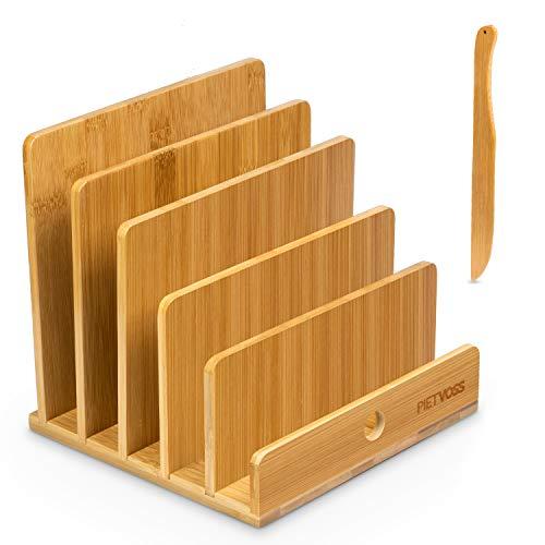 PIETVOSS Dokumentenhalter und Brieföffner aus Bambus Holz - Praktische Briefablage für den Schreibtisch - Büro Organizer, Zeitschriftenständer