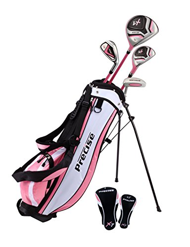 """Distinctive Girls Right Handed Pink Junior Golf Club Set for Age 3 to 5 (Height 3' to 3'8"""") Set Includes: Driver (15""""), Hybrid Wood (22, 7 Iron, Putter, Bonus Stand Bag & 2 Headcovers"""