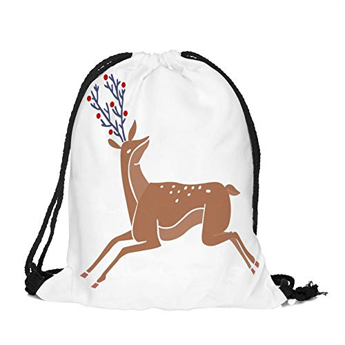 Outflower 1 pcs De Noël Oxford Tissu Élan Motif Bundle Poche Sac À Dos Sac Shopping Corde De Stockage Sac À Dos 32 cm * 39 cm
