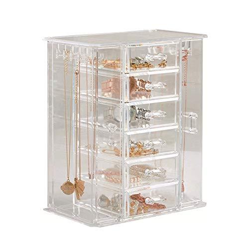 ORPERSIST Caja Joyero Organizador Transparente, Gran Capacidad Acrílico Pendientes Caja, Soporte Joyería con 6 Drawers para Anillos Aretes Pulseras Collares