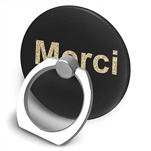 Soporte para teléfono móvil Merci Thank You In French Gold Glitter Lindo texto francés Soporte de anillo de soporte para teléfono celular, soporte giratorio 360 grados soporte de metal para serie de teléfonos
