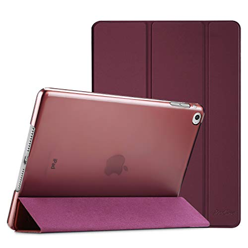 Procase Smart Case for iPad Air 2 (2014 Release), Ultra Slim Lightweight Stand Protective Case Shell with Translucent Frosted Back Cover for Apple iPad Air 2 (A1566 A1567) -Wine