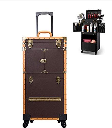 Trolley À Maquillage, Beauty Case, Roue De Frein Manche Télescopique Avec Support Sèche Cheveux Grande Capacité Grande Taille, 39X25.5X82cm,brown