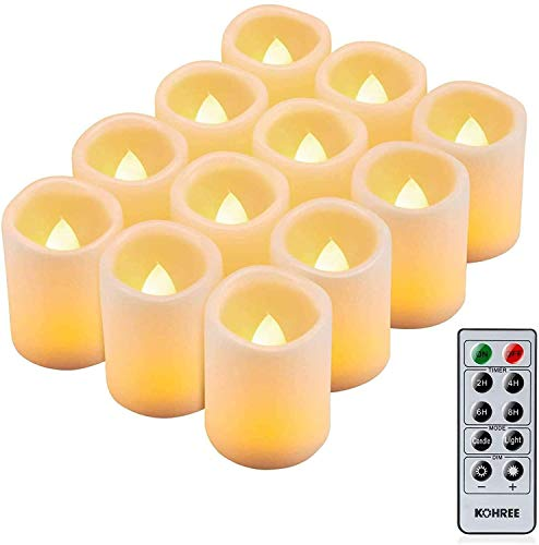 Kohree 12x LED Candles with Timer Remote Controlled Battery Operated Adjustable Brightness Realistic Bright Flickering Flameless LED Tea Lights Decoration for valentine Easter Wedding Valentine's Day