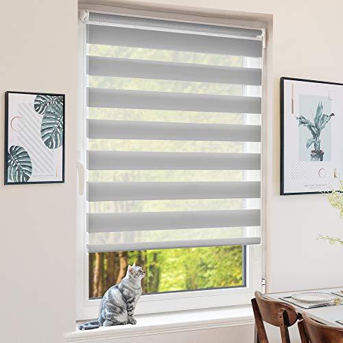 BondFree Doppelrollo Klemmfix ohne Bohren, Duo Rollos für Fenster und Tür, 75x120cm (Stoffbreite 71cm) Grau, Fensterrollo Seitenzugrollo Sichtschutz & Sonnenschutz