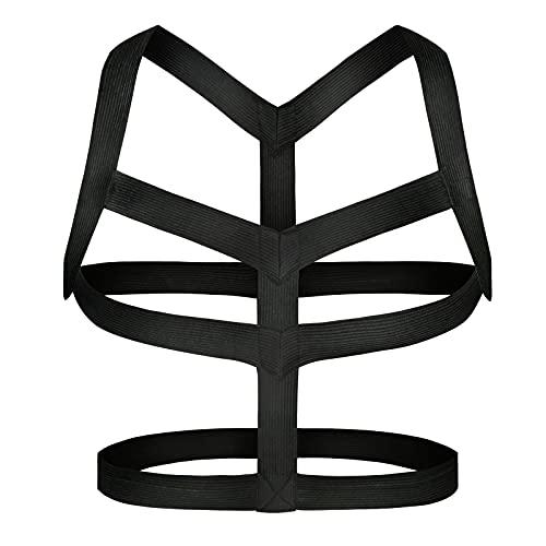 Man Harness Belt Body Chest Elastic Halter Nylon Shoulder Strap Club Wear Costume, Black and White