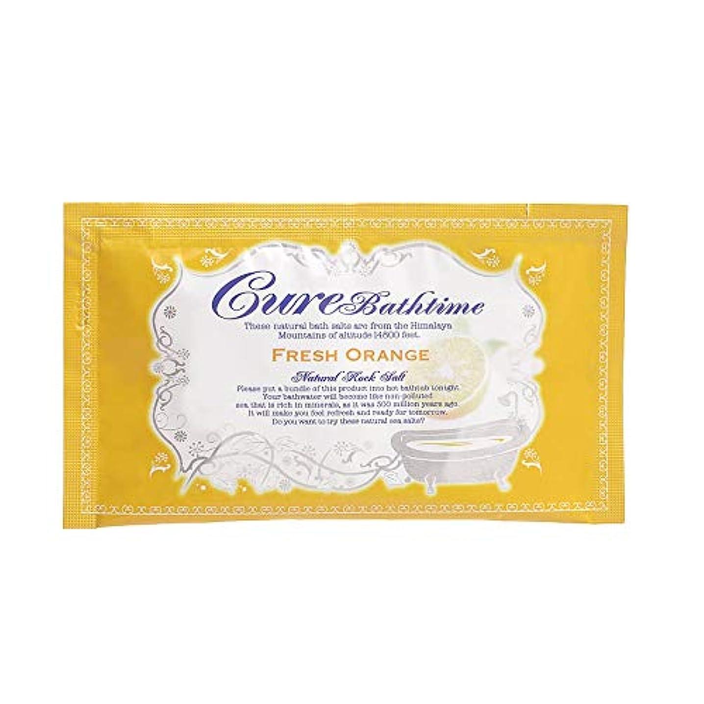 二修羅場追放するCureバスタイム 天然ヒマラヤ岩塩バスソルト フレッシュオレンジの香り 10包セット