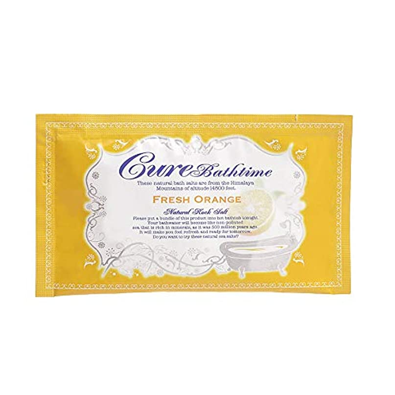 定説苦行有名人Cureバスタイム 天然ヒマラヤ岩塩バスソルト フレッシュオレンジの香り 16包セット