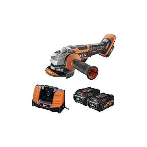 AEG 4935464422 Brushless Winkelschleifer (2X Akku 6,0 Ah, Scheibendurchmesser 125 mm, Ladezeit 85 Min) BEWS18-125BLPX-602C