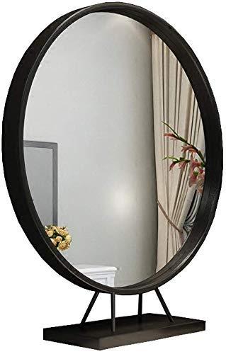 BXU-BG Espejo de maquillaje europeo redondo de hierro de un solo lado para escritorio, escritorio, escritorio, princesa, vestidor, belleza, color: negro, tamaño: 50 cm)