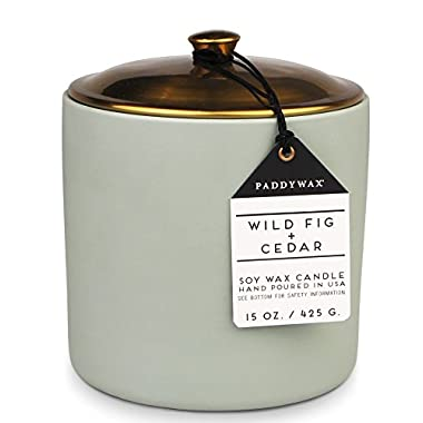 Paddywax Hygge Collection Scented Soy Wax Blend Candle, 15 oz, Wild Fig & Cedar