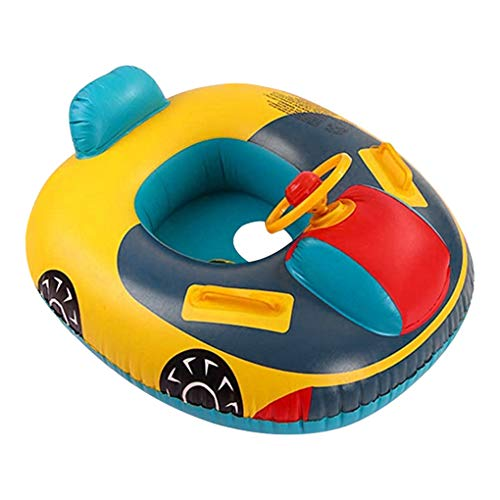 IPENNY Baby Schwimmring Aufblasbares Kinderboot Babysitz Swimtraining Pool Float für Kinder Lenkrad Griff Schwimmen-Spielzeug der Kinder ab 6 Monaten
