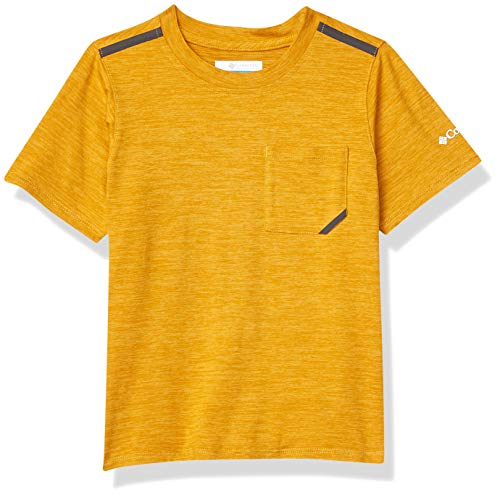 Columbia Tech Trek Camiseta Térmica De Manga Corta, Unisex niños, Amarillo (Bright Gold Heather), XL