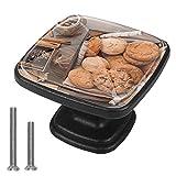 (4 piezas) pomos de cajón para cajones, tiradores de cristal para gabinete con tornillos para gabinete, hogar, oficina, armario, avena y galletas de chocolate, 35 mm
