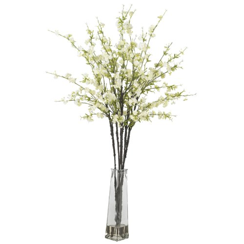 Nearly Natural 1193-WH Cherry Blossoms with Vase Silk Flower Arrangement White,12' x 12' x 35'