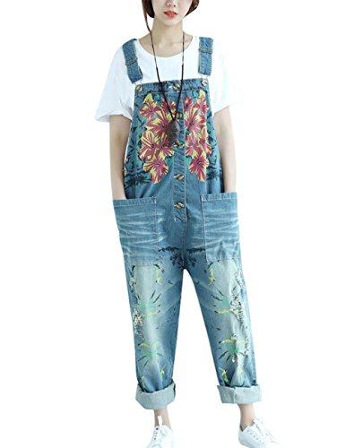 Youlee Mujer Pantalones de Pierna Ancha Peto de Mezclilla Monos Pantalones Monos Style 10 Blue