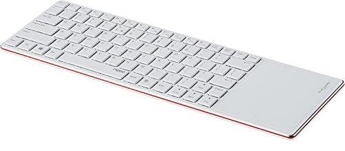 Rapoo 12940 E6700 Tastiera Bluetooth 3.0 Multimediale, 82 Tasti, Touchpad, Ultrasottile, Inox, Layout Italiano, Rosso