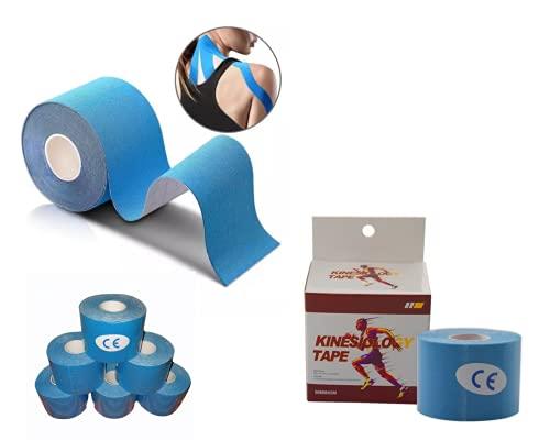 Cinta Kinesiologica - Kinesiotape - Venda Neuromuscular Adhesiva - Alivio Dolor Muscular - Elástica - Impermeable - Vendaje kinesiológico - Apto Múltiples Zonas - Pack 6 Rollos 5mx5 cms - Azul