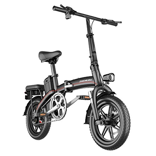 REWD Portable Easy to Store, 14' Electric Bicycle/Commute Ebike with Frequency Conversion High-Speed Motor, 48V 8Ah Battery (Size : 40km)