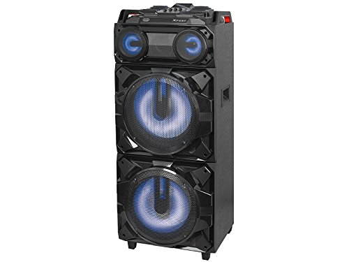 Trevi XFEST XF 3800 PRO Altoparlante Amplificato con Ruote, MP3, USB, Bluetooth e Batteria Integrata, Karaoke Party Speaker con Microfono incluso