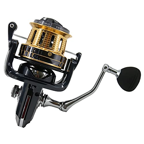 Amarine Made Saltwater 8000/10000/12000 Spinning Reel for Surf Fishing 10+1 Stainless BB Ultra Smooth Powerful with CNC Aluminum Spool Long Casting Offshore Big Game Fishing Reels (FB10000)