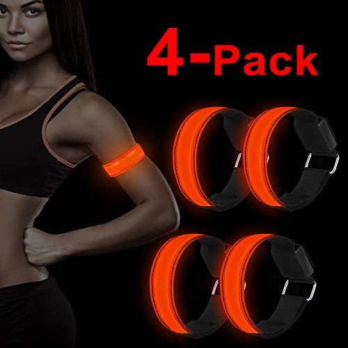 LED Armband, 4 Stück Reflective LED leucht Armbänder Lichtband Kinder Nacht Sicherheits Licht für Laufen Joggen Hundewandern Running Outdoor Sports-Rot