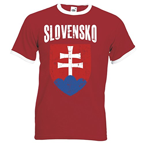 Aprom Slowakei Ringer Herren T-Shirt Trikot Fußball WM 2018 T-Shirt - S M L XL XXL -Rot D01 (S)