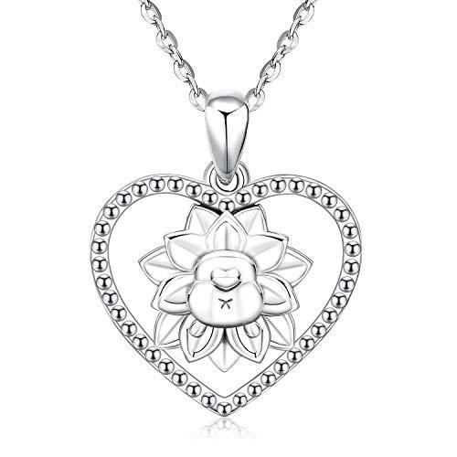 Collar Flor de Loto, Aniu Forma de Corazón con Flor de Loto Collares de Espalda de los perros Muchos Destellos de Circonio en el Exterior del Collar Collar Plata de Ley 925 Regalos para mujeres