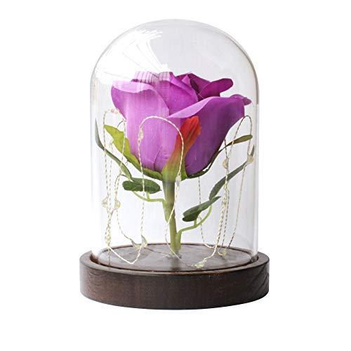 Rosa encantada, rosa de la Bella y la Bestia, rosa con luz LED, botella de cristal de rosa artificial, lámpara de mesa de noche (morado)