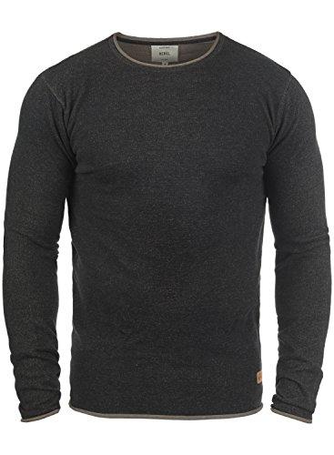 Redefined Rebel Maison Herren Strickpullover Feinstrick Pullover Mit Rundhals Und Melierung Aus 100% Baumwolle, Größe:XXL, Farbe:Black