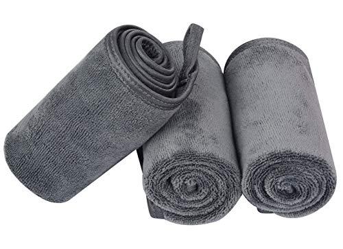 KinHwa Panno Struccante Microfibra Panno Struccante Viso Panno Lavabile Per il Viso 20cm x 40cm 3 pezzi grigio
