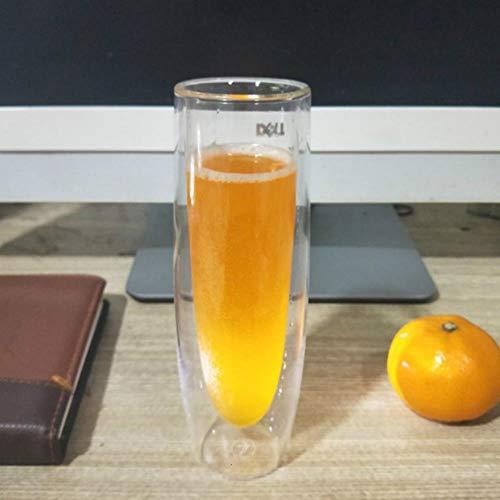 TUOP Dubbele Muur Bier Glas Ontbijt Middag Thee Melk Koffie Hittebestendige Bekers Huishoudelijk Transparant Wijnglas