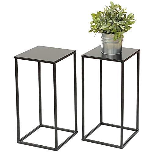 DanDiBo 2 sgabelli da fiori in metallo nero, rettangolare, altezza 42,5 cm, 434, supporto per piante e piante, stile moderno, 42,5 cm