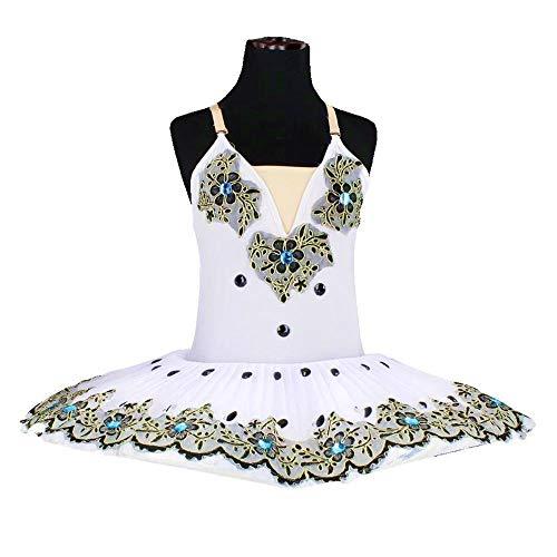 CHANGL Tutus de Ballet Profesional Negro para niñas Vestido de Ballet del Lago de los cisnes para niños Ropa de Baile Panqueque Bailarina Vestido de Patinaje artístico