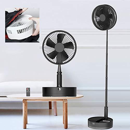 Zhyaj Ventilador Portátil De Pie/8' De Pedestal Plegable Ventiladores De Altura Ajustable/4 Velocidades/con Luz Nocturna/USB Ventilador De Piso Accionado por Energía,Negro