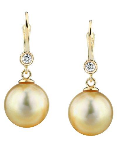 The Pearl Source   14k (585)  oro giallo  Rotonda Perle coltivate dei Mari del Sud  Diamante Perla