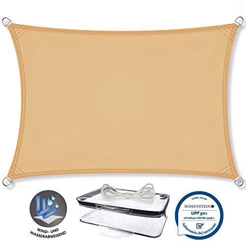 CelinaSun Luifel UPF 50+ geteste UV-bescherming PES tuin terras balkon bescherming tegen weersinvloeden UV-bescherming zonnezeil. 2x3m Rechteck beige (sand beige)