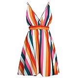 Auppy Vestido colorido de verano para mujer, sin espalda, sexy, profundo en V, a la moda, delgado, informal, a rayas