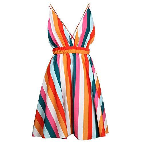 TOYIS Vestidos sexys para mujer, vestido de verano colorido con cuello en V profundo sexy vestido de playa estampado a rayas falda de playa vestido de mujer