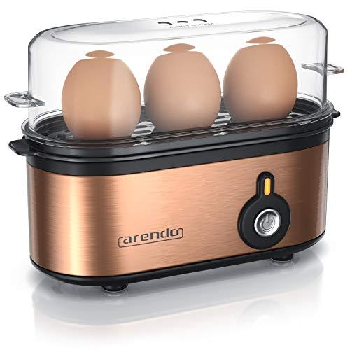 Arendo - Edelstahl Eierkocher Threecook - Egg Cooker - EIN AUS-Schalter - Wählbarer Härtegrad - 210 W - 1-3 Eier - Antirutschgummifüße für sicheren Halt - BPA-frei - GS-Zertifiziert