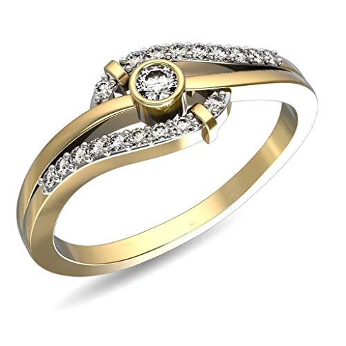 JewelsForum Diamante Redondo De 0,28 Quilates, Oro De 14 K, Anillo De Diamante Infinito, Alianza De Compromiso, Diamante Solitario De 0,10 Quilates (Color- Hi, Clarity-I1 / I2)