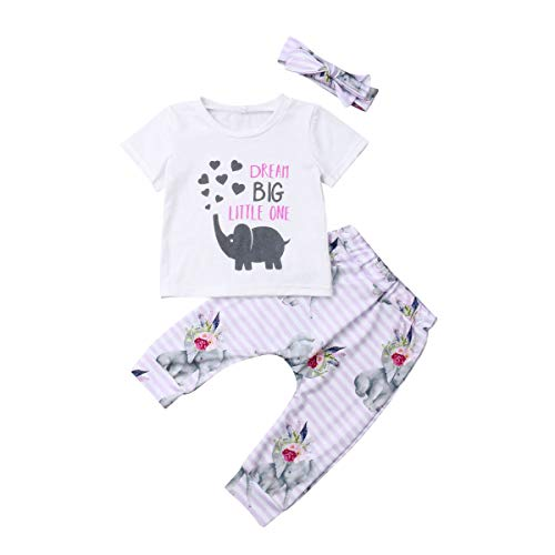 BriskyM Bébé Bébés Filles Rêve Grand Petit T-Shirt + Pantalons Éléphant Leggings Bandeau Tenues Vêtements 0-2 Ans (Blanc, 80)