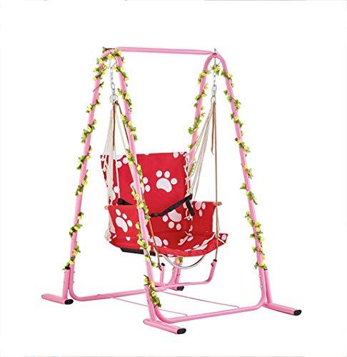 Columpio silla colgante interior niños adultos cuna balcón sillón canasta colgante patio de casa sala de estar soporte antivuelco rodamiento 150 kg con cinturón de seguridad para montaje rápido